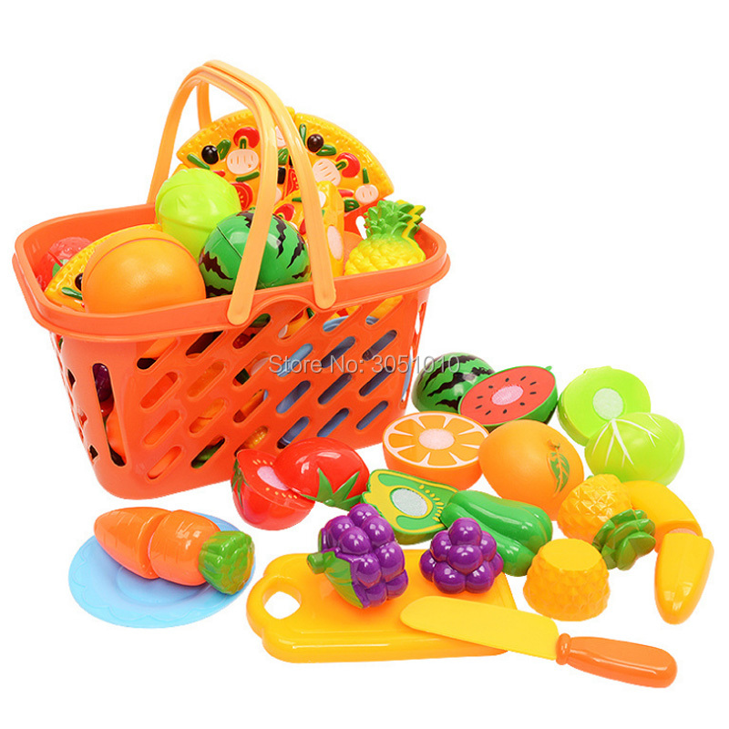 1 Set 23Pcs/Set Ptetend Play Toy Plastic Fruit Vegetables Cutting Toy Early Development Education Toy For Baby Color Random Send
