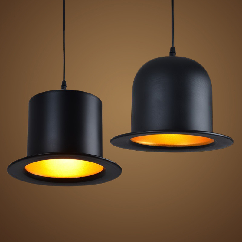 Hat Pendant Lights Black Metal Light For Dining Room D25cm*H18cm Creative Industrial Pendant Lamp For Coffee Shop Bar WPL013 hat light new design top pendant lights aluminum gentleman formal hat light creative pendant lamp for kitchen coffee shop bar