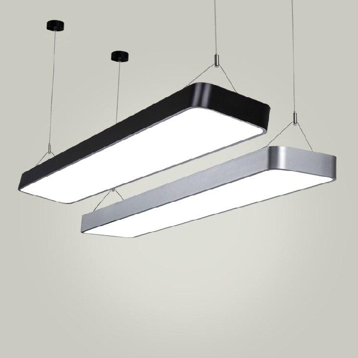 Lampada Led Lunga.Us 110 0 Ufficio Moderno Lampade A Sospensione Luce Semplice Ufficio Led Lunga Striscia Di Alluminio Rettangolare Illuminazione Commerciale Lampade