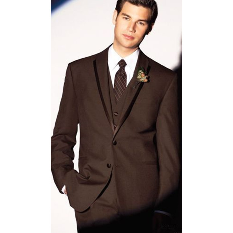 522 Custom Made Hot New 3 Piece Brown Men Suit Groom Wedding Formal Tuxedos Suits Men Suits (Jacket+Pants+Vest) G522