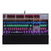 Motospeed CK108 Wrist Rest Metal 104 Keys RGB Blue Switch Mechanical Keyboard Gaming Wired LED Backlit