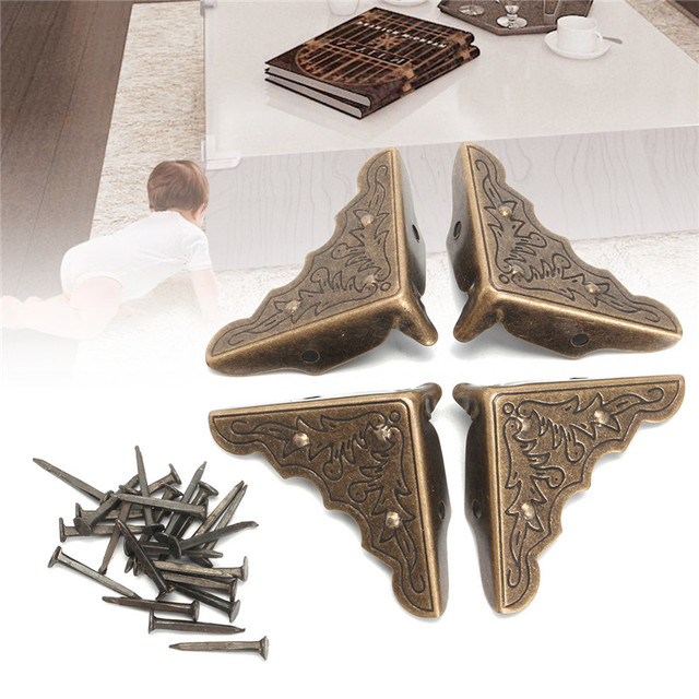 Kiwarm Bronze Iron Antique Br Furniture Corner Brackets Jewelry Gift Box Wood Case Decorative Feet Leg Metal Protector