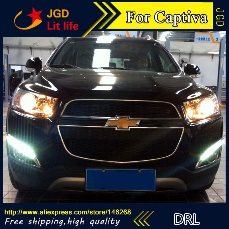 Free shipping ! 12V 6000k LED DRL Daytime running light for Chevrolet Captiva 2011-2013 fog lamp frame Fog light for chevrolet cruze captiva sport camaro sonic spark equinox 2013 2014 2015 h8 car led fog lamp 100w daytime running light bulb