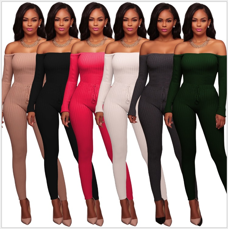 Summer New Off Shoulder Sexy Jumpsuit Lace Up Long Sleeve Bodysuit Casual Overalls Ladies Skinny Pants Rompers Womens Jumpsuit