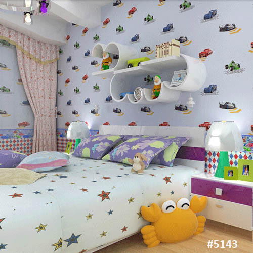 Carton Car Wallpaper For Boy Kids Bedroom Designer Wall Paper - Boys car wallpaper designs