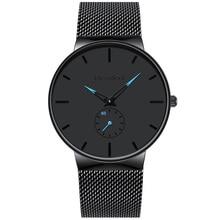 Relojes de marca de moda para hombre, relojes deportivos de cuarzo, de acero completo, Ultra delgado, resistente al agua, Masculino