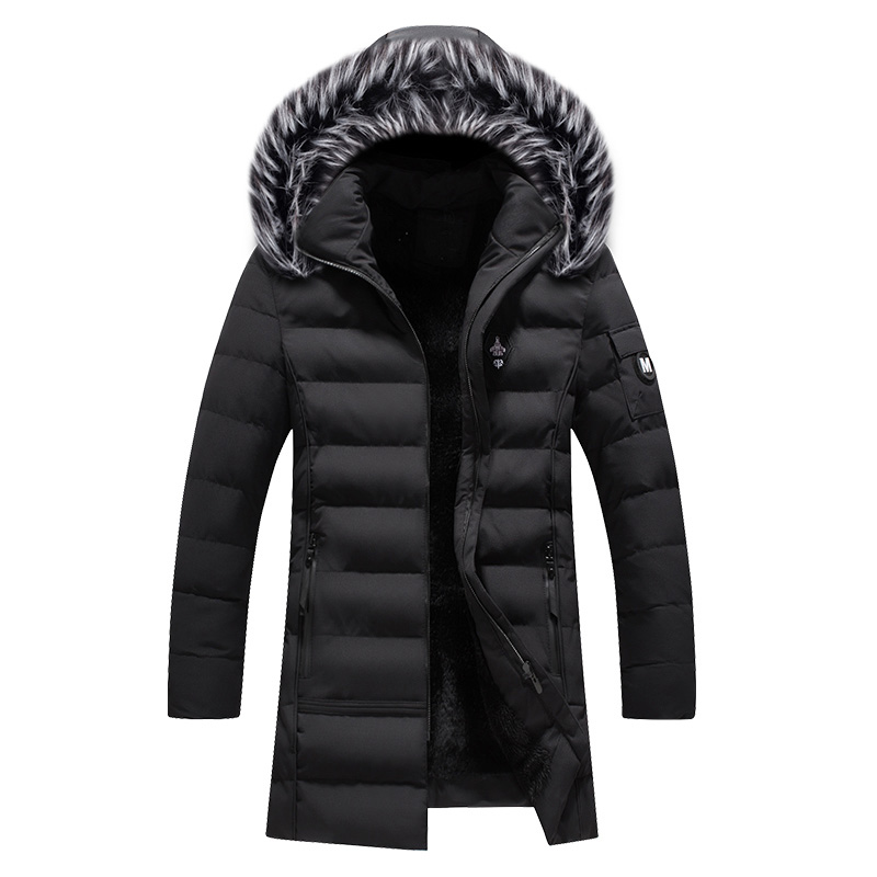 2019 Newly Fashion Winter Jacket Men Fur Collar Hooded Long Coat Velvet Warm Parka Men Thick Outwear Casual Windproof Trench