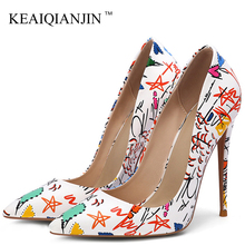 KEAIQIANJINL Stiletto Women's Doodling High Heels Shoes White Wedding Pumps Fashion Sexy Party Pointed Toe Pumps Plus Size 43 cocoafoal woman green party wedding pumps stiletto plus size 33 43 44 high heels shoes blue sexy pointed toe valentine shoes