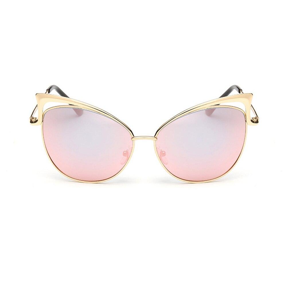 Female Sunglasses Shades Cat-Eye Metal Vintage Summer Oculos-De-Sol Reflective Pink Gold