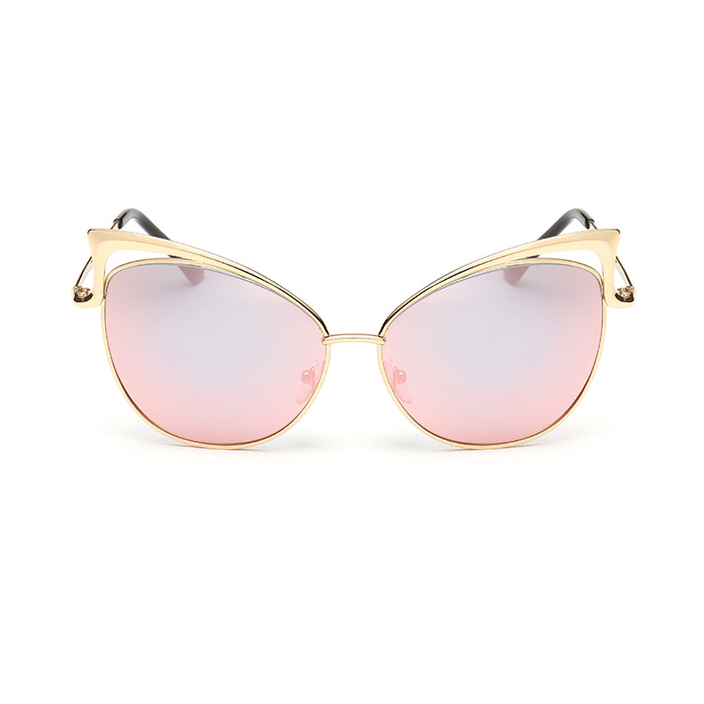 2017 Cat Eye Female Sunglasses Gold Metal Oculos De Sol Reflective Summer Pink Sun Glasses Vintage Sexy Shades Free Ship