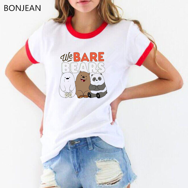 Summer 2019 We Bare Bears T Shirt Femme Funny T Shirts Women 90s Roupas Tumblr Tshirt Harajuku Kawaii Shirt White Female T-shirt