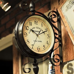 Hot Rotated Continental Iron Antique Two Sided Clock Double Face Outside Courtyard