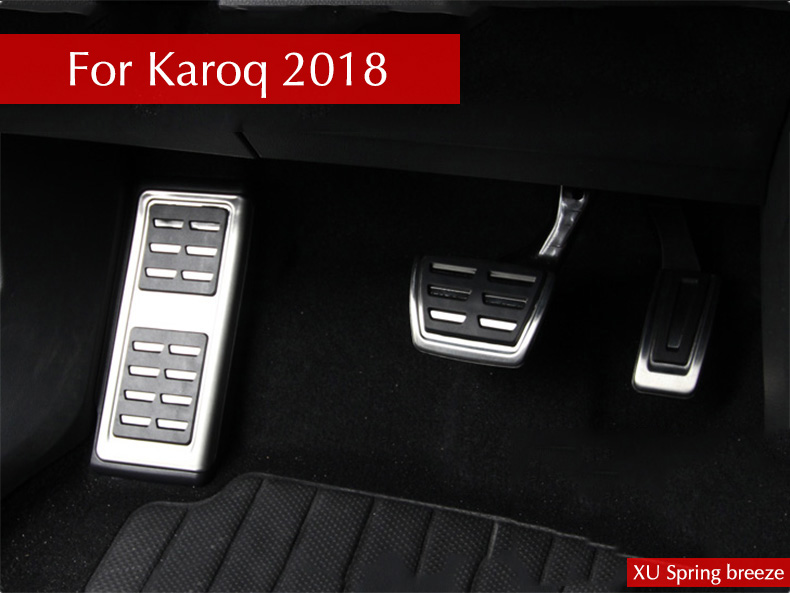 Car Refit Accelerator Pedal Plate Clutch Throttle Brakes Foot Pedal Treadle For Skoda Karoq 2017 2018 AT MT litanglee car accelerator pedal pad cover racing sport for mini cooper clubman r55 f54 2007 onwork at foot throttle pedal cover