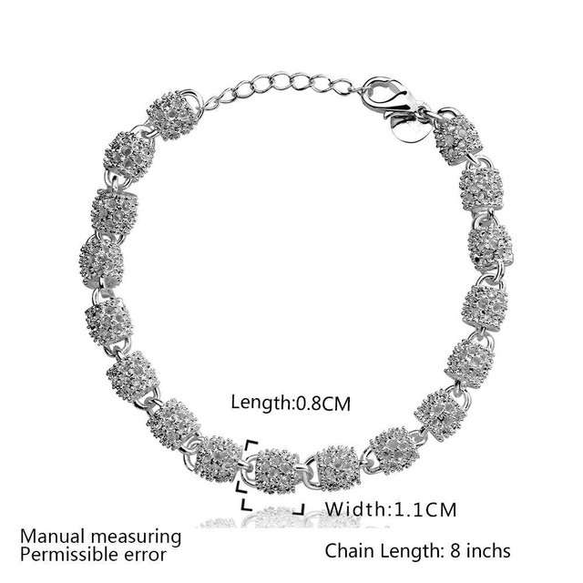 Brand 2017 New women fashion ball 925 Stamped Silver Plated chain bead charm bracelets & bangles high quality fashion Jewelry