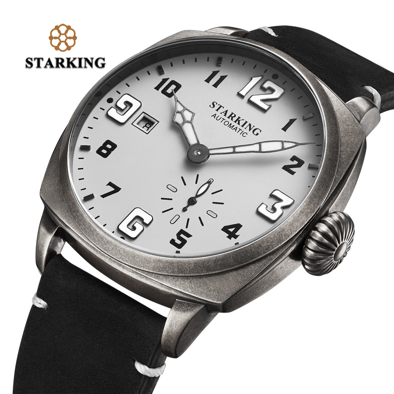 STARKING Watch Men Automatic Mechanical Wrist Watches 50M Water Resistant Military Watches Men Relogio Masculino Auto Date Clock unique smooth case pocket watch mechanical automatic watches with pendant chain necklace men women gift relogio de bolso