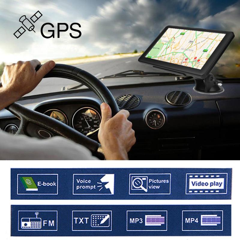Portable 7 inch HD Car GPS Navigation Capacitive screen FM 8GB Vehicle Truck GPS Car navigator Europe Sat nav Lifetime Map New junsun 7 inch hd car gps navigation bluetooth avin capacitive screen fm 8gb vehicle truck gps europe sat nav lifetime map