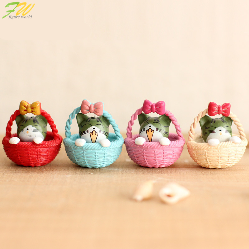 (4pcs/lot) Cheese cat miniature figurines toys cute lovely Model Kids Toys 3cm PVC japanese anime children figure world 160324 image