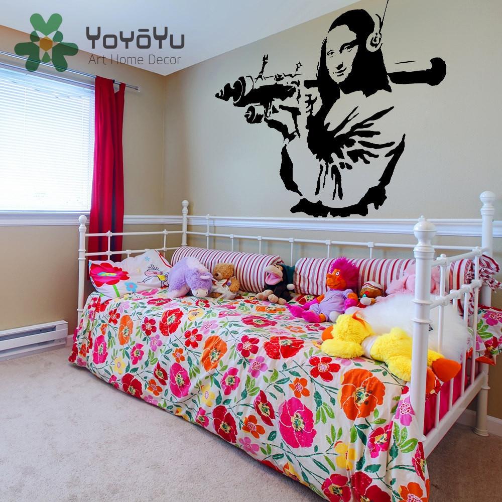 Graffiti wall vinyl - Banksy Vinyl Wall Decal Mona Lisa Rocket Launcher Home Decor Sticker Davinci Paint Street Art Graffiti