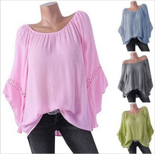 Large size Womens Blouse 2019 Europe and large bat sleeve loose shirt solid color chiffon