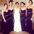 Fashionable 2015 Western Style Long Navy Bridesmaid Dresses Celebrity Dress Gold Belt Bride Maid Dresses For Weddings Party