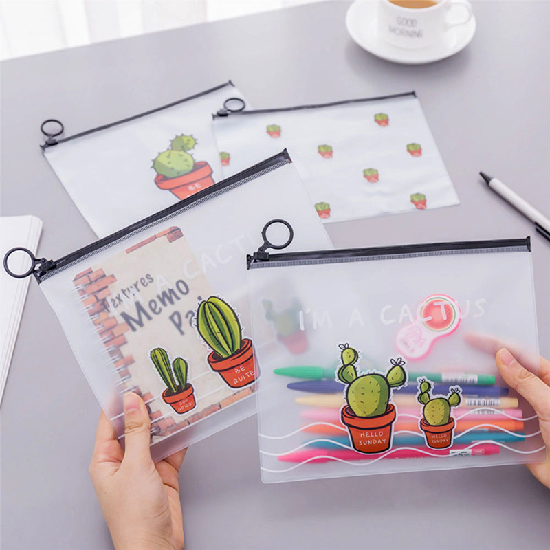 1 Pcs Kawaii Cactus Waterproof PVC Pencil Cases Pen Bags Stationery Storage School Supplies Pencil Bags Free Shipping