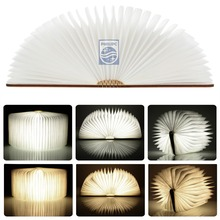 Free shipping Wood Turning books Nightlight USB rechargeable LED folding lamp book creative fashion gift table lamp