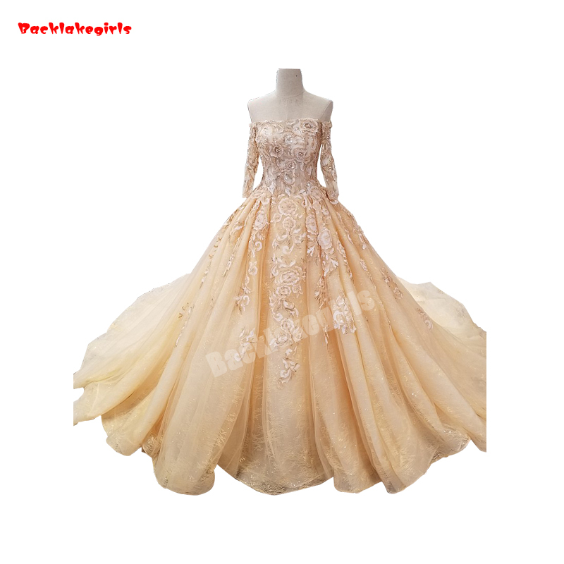 0089 New Off Shoulder Champagne Elegant Wedding Dress Lace Appliqued Tight Chest Fluffy Dinner Party Gown