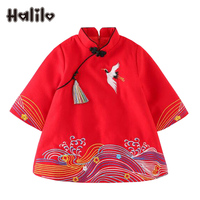 Halilo Little Girls Winter Dresses Chinese Style New Year Girls Party Dress Boutique Kids Clothing Princess Costume Girl Dress
