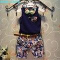 Лидер медведь Мальчик Одежда Наборы 2016 Новый Стиль Мода Дети одежда Наборы Синий Лук галстук Рубашка + Печать Брюки + Ремень 3 Шт. для Мальчика одежда