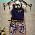 Bear Leader Boy Clothing Sets 2016 New Fashion Style Kids Clothing Sets Blue Bow tie Shirt+Print Pants+Belt 3Pcs for Boy Clothes