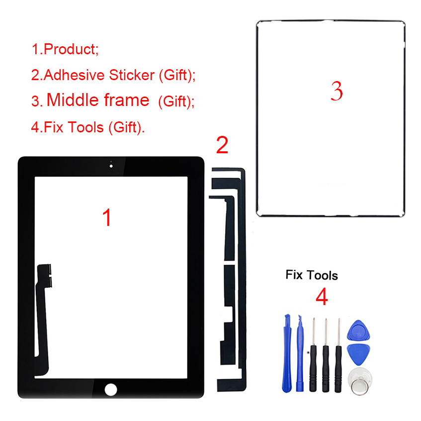 New Black Front Glass Digitizer Touch Screen for iPad 4 A1458 A1459 A1460