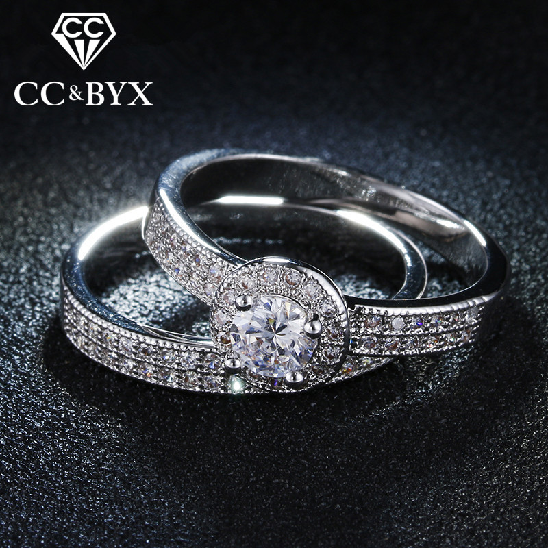 CC 2 Pieces Bridal Set Cincin Ganda untuk wanita AAA CZ 2 Warna Diisi Wedding Ring Set Bijoux Bague Anillos Mujer CC042