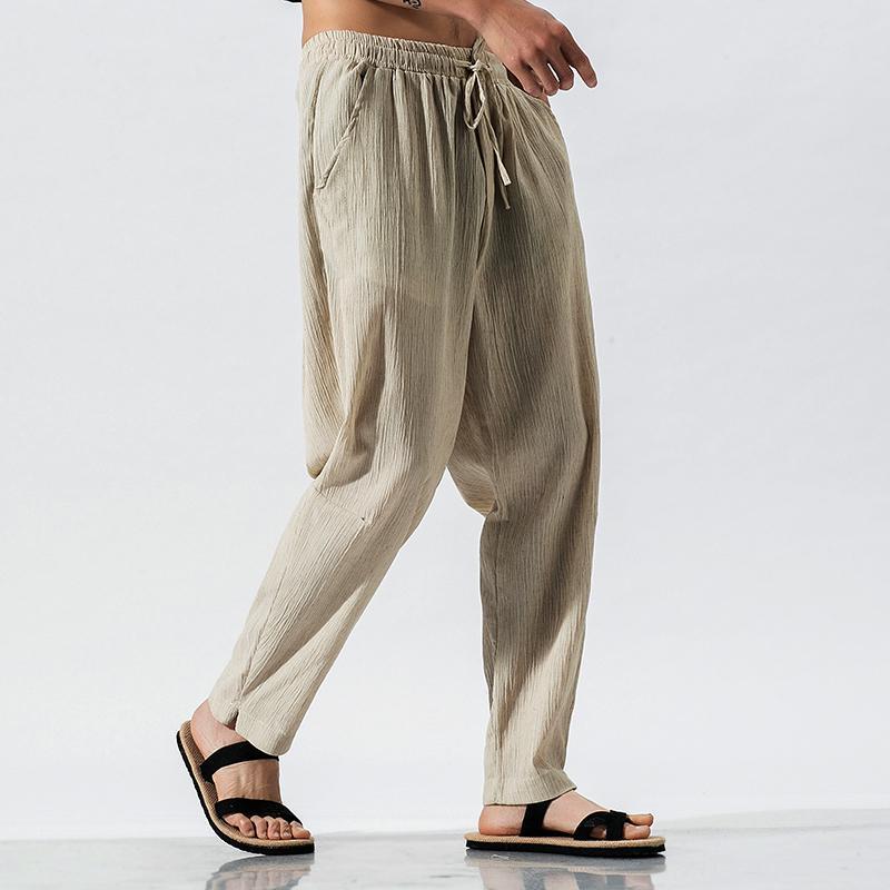 Più Degli Uomini di Formato Pantaloni stile harem pantaloni di Lino Maschio Tradizionale Cinese Abbigliamento Hip Hop Streetwear Abiti Da Lavoro Tai Chi Pantaloni 5XL