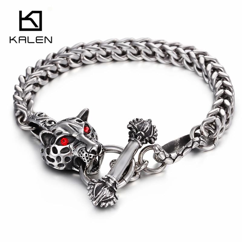 Kalen Men's Leopard Bracelet Stainless Steel Punk Animal Leopard Head Charm Bracelet Wrap Hand Chain Male Wholesale Jewelry Gift