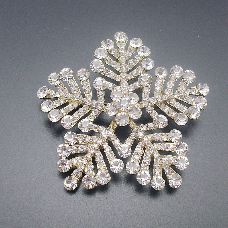 Large Winter Clear White Crystal Rhinestone Snowflake Brooch Christmas Pin  Gold Tone Pentagram Star Accessory Item No.