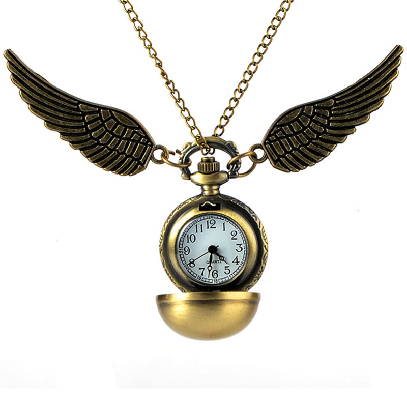 Antique Golden Angel Wing Quartz Pocket Watch Charming Vintage Men Women's Watch Snitch Ball Necklace Pendant Clock With Chain