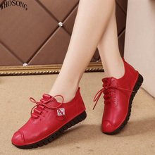WHOSONG New Women Casual Shoes Genuine Leather Women's Shoe Lace-Up Female Flats Pointed Woman Oxfords Large Size 34-42 M66 chinese rhinestone foldable spring autumn crystal large size china genuine leather flats peach roll up famous brand shoes 10