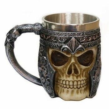 3D Resin Skull Mug,Coffee Milk Mug Tankard Striking Skull Warrior Tankard Viking Skull Beer Mug Gothic Helmet Drinkware фото