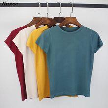 Xnxee 2018 Summer T Shirt Women Knitted Short Sleeves Tee High Elasticity Breathable Top Female Tshirt