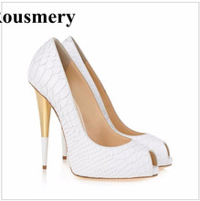 New Fashion Women Pointed Toe White Pattern Leather Pumps Stiletto Heel Dress Shoes Super High Heels Evening Wedding Shoes