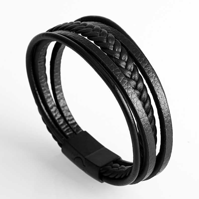 Mcllroy Fashion czarna brązowa prawdziwa skóra bransoletka dla mężczyzn wielowarstwowe złoto magnes ręcznie robiony amulet biżuteria prezent może własne logo