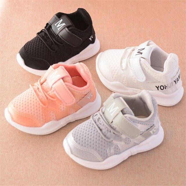 חדש 2019 ילדי נעלי בנות בני נעלי ספורט לבן רך תחתון ילדים תינוק Sneaker מקרית שטוח סניקרס מוקסינים רשת נעליים 21-30