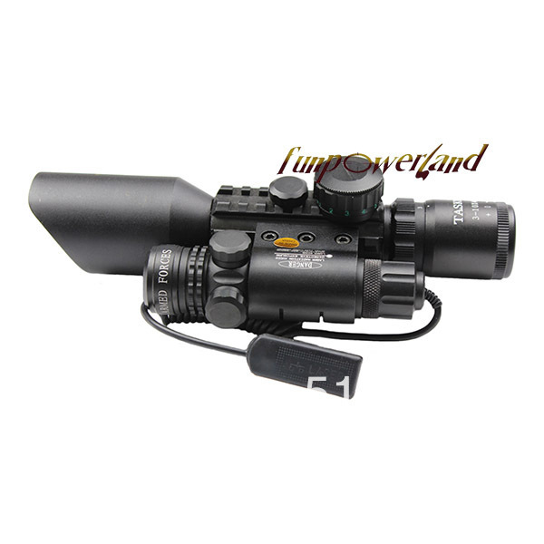 3-10X42+Green laser M9A Tactical rifle scope red green Mil-Dot Reticle with side mounted Green laser/Guaranteed 100% 4x 30mm red green mil dot reticle rifle scope with gun mount black 3 x ag13 1 x cr2032