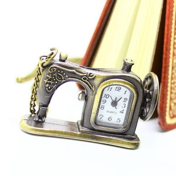 Antique Bronze Sewing Machine Pocket Watch Necklace Pedant Xmas Gift P515