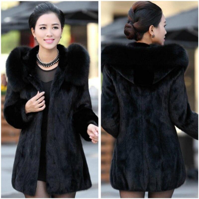 2017 S 5XL Women Winter Hooded Fake Fur Coats Plus Size 5XL 4XL Vintage Artificial Black
