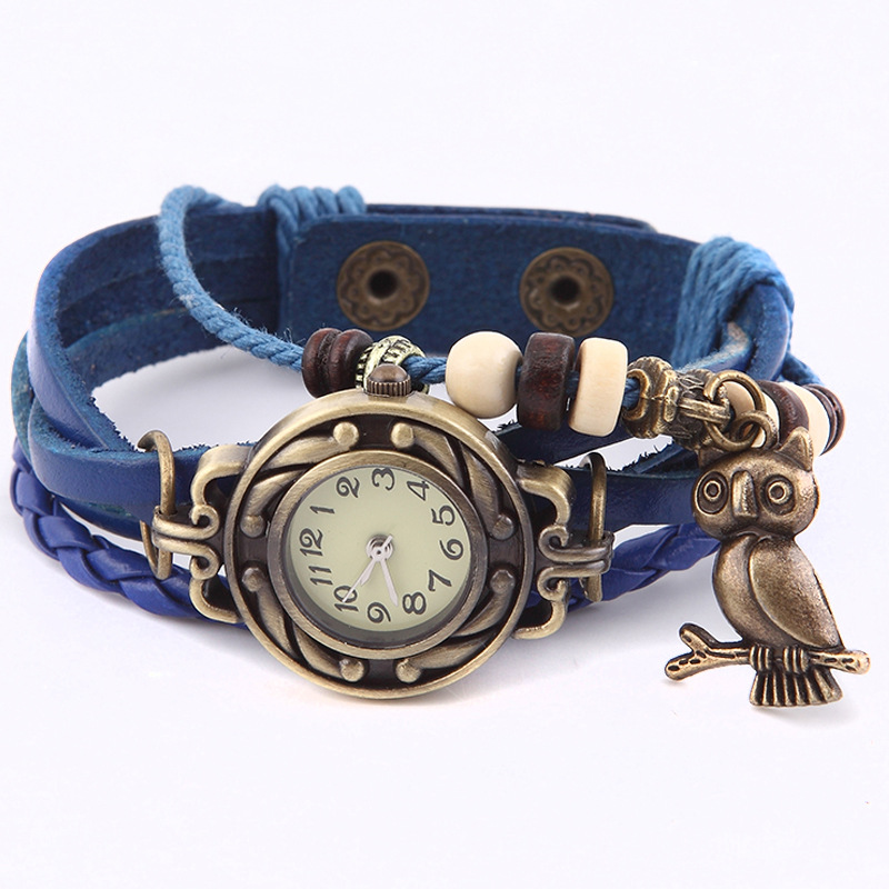 Mini Small Dial Watch Female Retro Multilayer Leather Quartz Wristwatch with Bronze Owl Pendant Women Bracelet Watches Clock LL antique retro bronze car truck pattern quartz pocket watch necklace pendant gift with chain for men and women gift
