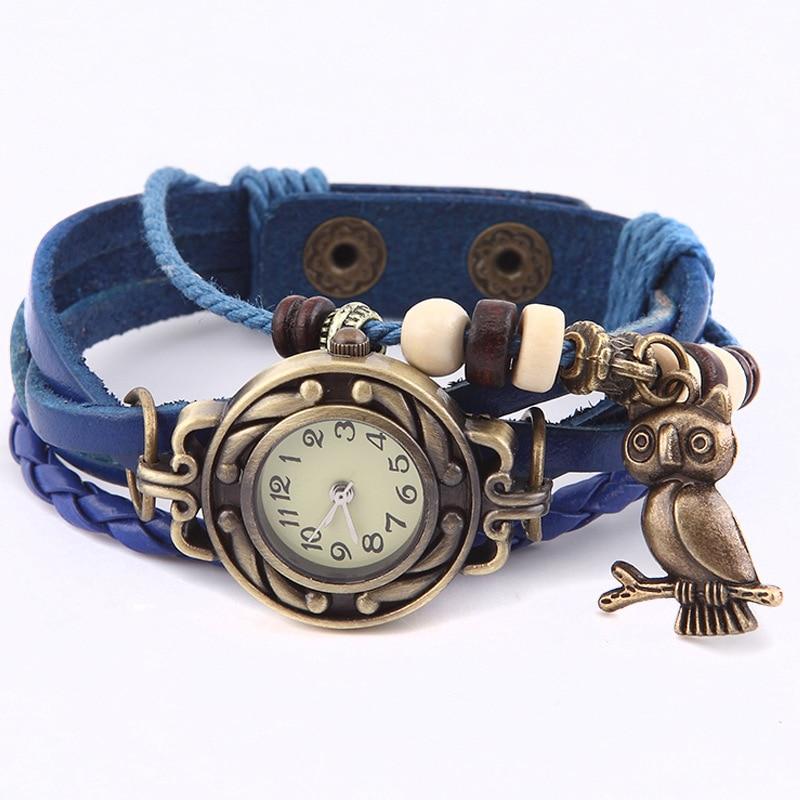 Mini Small Dial Watch Female Retro Multilayer Leather Quartz Wristwatch with Bronze Owl Pendant Women Bracelet Watches Clock LL