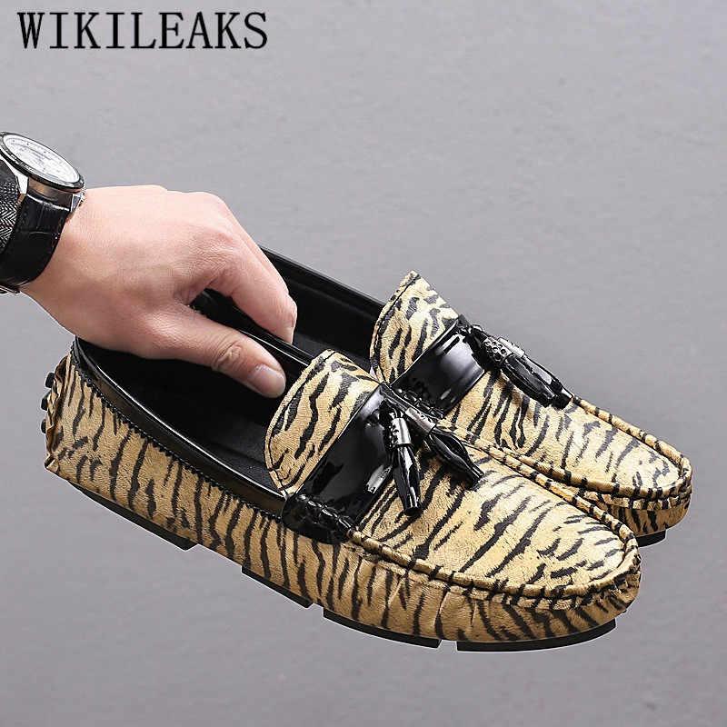 Leopard casual schoenen mannen lederen mannen loafers luxe merk slip op schoenen mannen rijden schoenen goud zilver chaussures nl cuire hommes