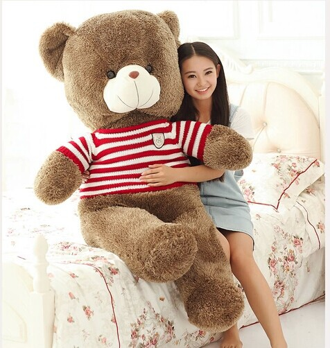 plush sweater teddy bear toy big red stripes teddy bear toy bear doll gift doll about 160cm 0140 new creative cute plush bear toy big head teddy bear doll gift about 35cm