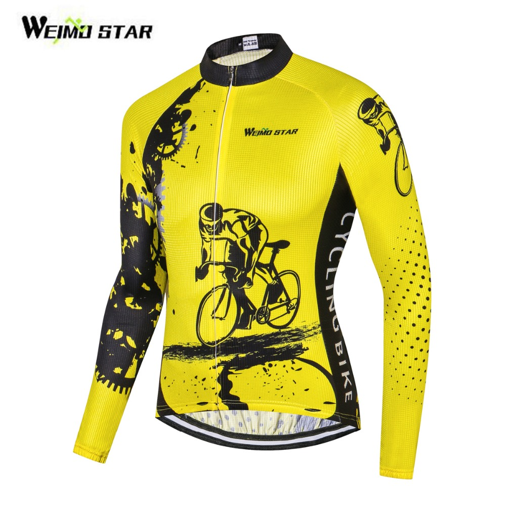 Reflective Cycling Jersey Long Sleeve Bike Bicycle Shirt Clothing Top Men Sportwear Ropa Ciclismo Cycling Clothing Riding Yellow